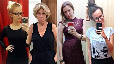 Nasze zakupowe wybory, od lewej: Agnieszka w sukience z Auchan, Ewa w kombinezonie z Carrefour, Ola w sukience z Tesco, Paulina w zestawie z E. Leclerc.