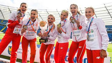 Maj 2021. Lekkoatletyczna reprezentacja Polski obroniła tytuł drużynowego mistrza Europy. Pierwsza z lewej Kornelia Lesiewicz (AZS AWF Gorzów)