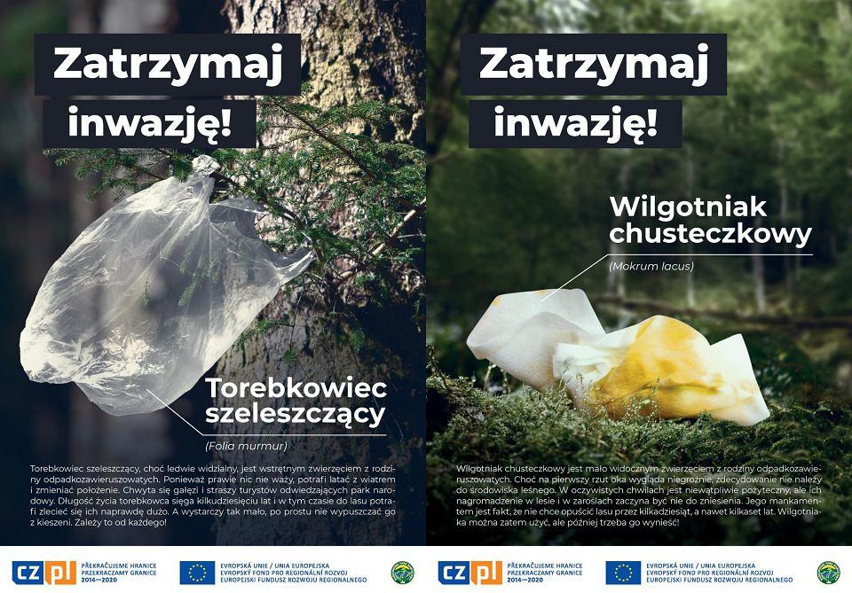 Kampania 'Zatrzymaj Inwazję' promująca akcję sprzątania śmieci w Karkonoskim Parku Narodowym