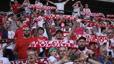 Kibice podczas meczu Polska- Islandia rozegranego na stadionie przy ulicy Bułgarskiej