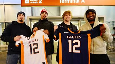 Nowi gracze Warsaw Eagles - od lewej: Marc-Avery Airhart, Caleb Singleton, Shane Gimzo i Clarence Anderson