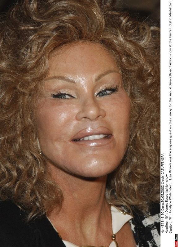 NY : Jocelyne Wildenstein.   Liza Minnelli was the surprise guest on the runway for the annual Dennis Basso fashion show at the Pierre Hotel in Manhattan.
