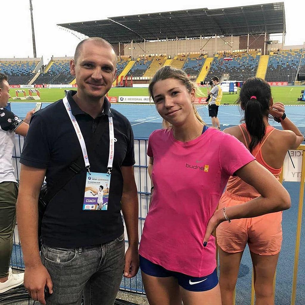 Kornelia Lesiewicz z trenerem Sebastianem Papugą