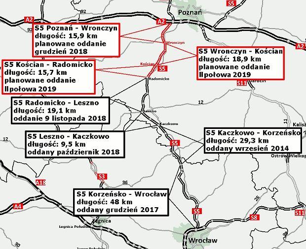 S5 motorway, Radomicko-Leszno section