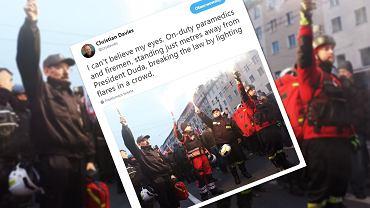 Ratownicy medyczni i strażak wśród odpalających race na marszu? Policja publikuje zdjęcia