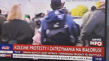 W czasie konferencji Zbigniewa Ziobry TVP pokazywała materiały dot. m.in. protestów na Białorusi