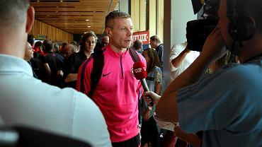 Gudjon Valur Sigurdsson podczas przedmeczowej konferencji prasowej Final Four Ligi Mistrzów
