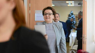 7.01.2019, Warszawa, minister edukacji narodowej Anna Zalewska po spotkaniu ze związkami zawodowymi.
