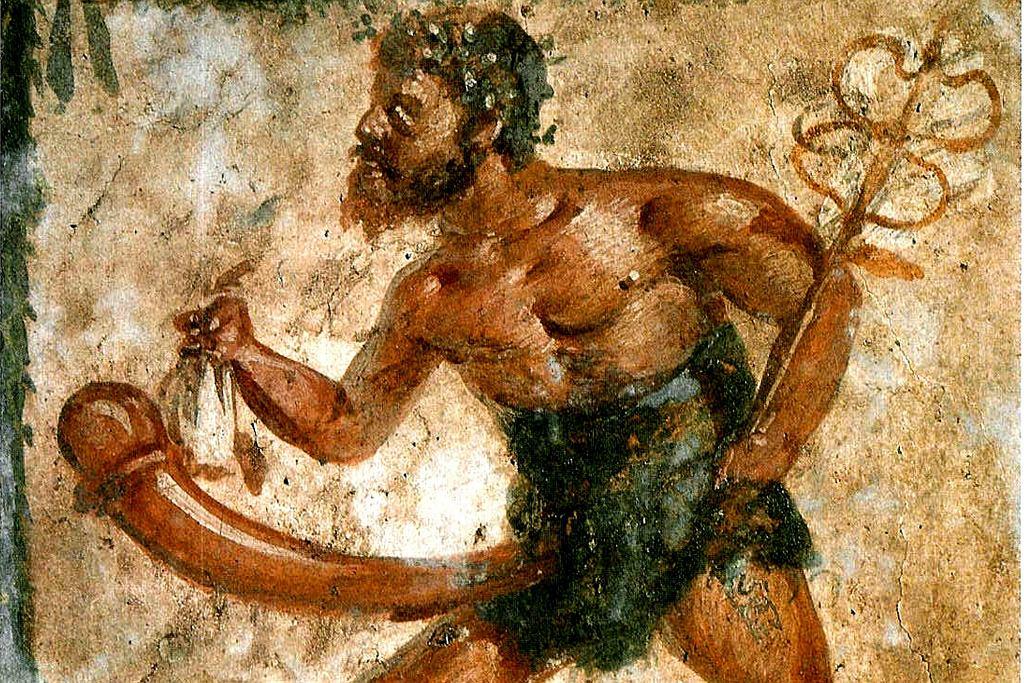 Priap na jednym z fresków odnalezionych w Pompejach (fot. Wikimedia.org / Domena publiczna)