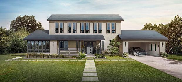 Wizualizacja dachówek fotowoltaicznych od Tesla Energy