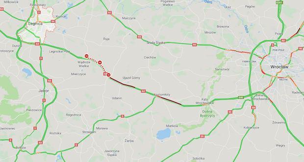 Na autostradzie A4 z Wrocławia do Legnicy zderzyły się dwa samochody