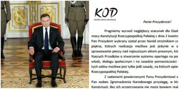 KOD pisze list do Prezydenta Andrzeja Dudu w sprawie sędziów Trybunału Konstytucyjnego