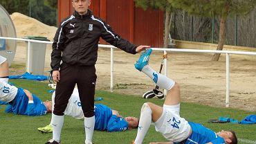 Trener Mariusz Rumak i Dawid Kownacki