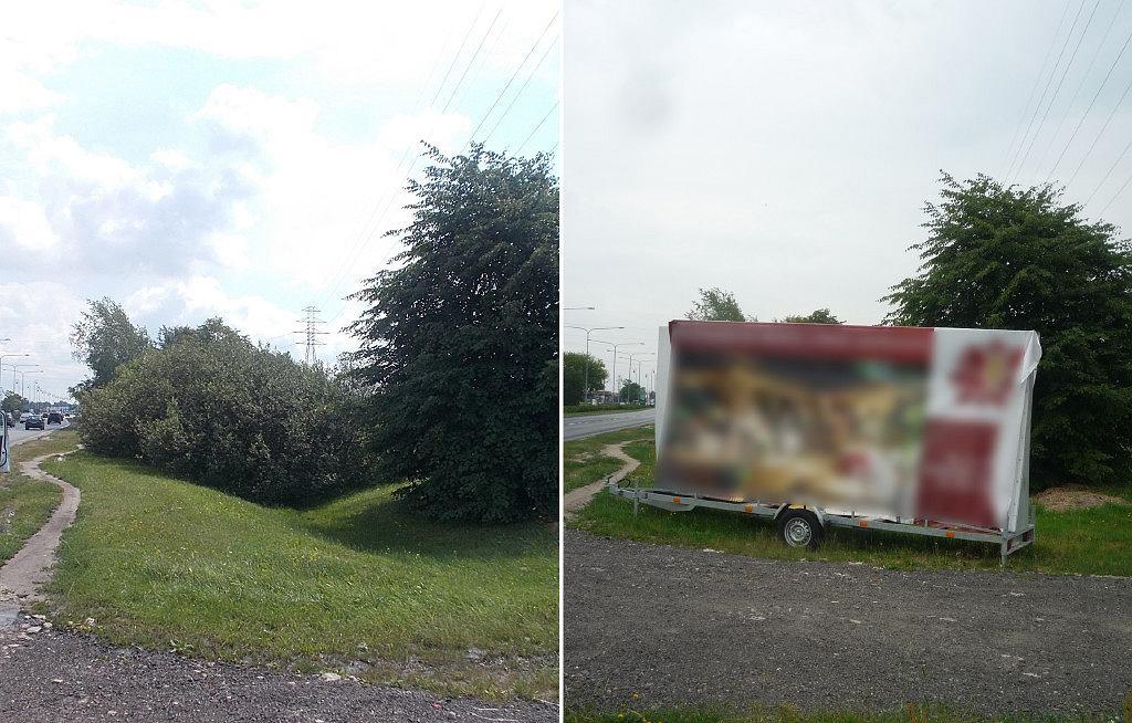 Reklama w pasie drogi przy skrzyżowaniu ulic Drewny i Ku Skarpie.
