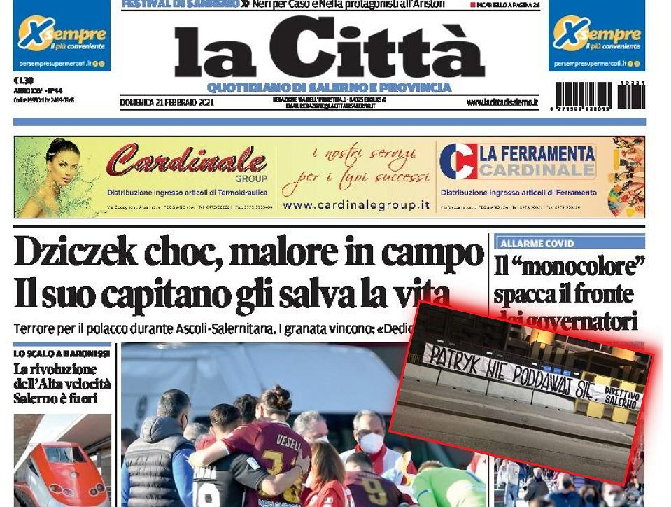 Patryk Dziczek na okładce dziennika 'La Citta'