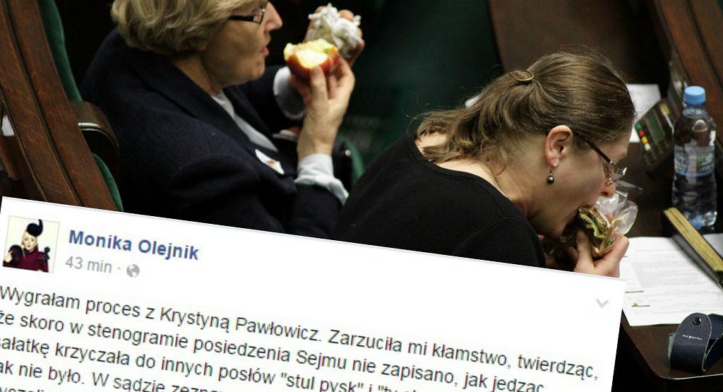 Krystyna Pawłowicz je kanapkę w Sejmie