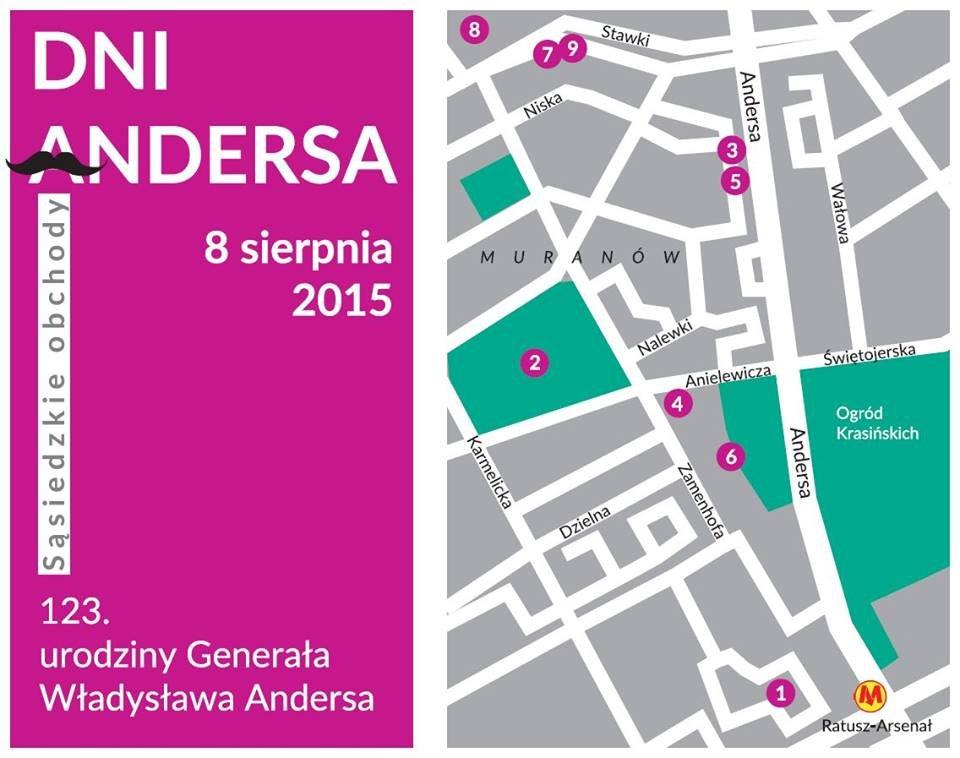 Mapa przygotowana z okazji Dni Andersa 2015