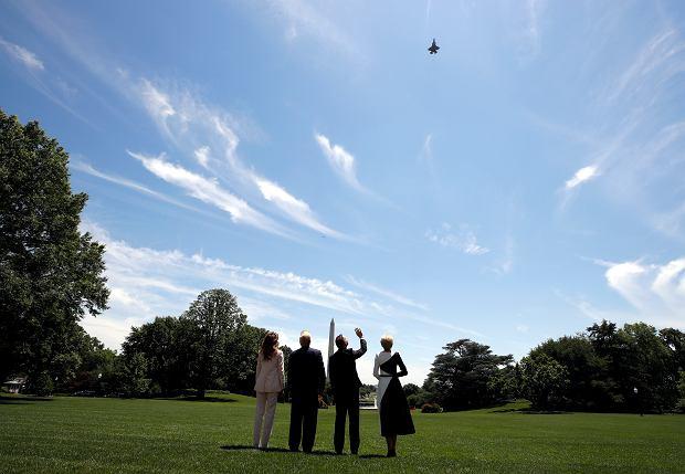 Powietrzne popisy F-35 podczas spotkania Andrzeja Dudy i Donalda Trumpa