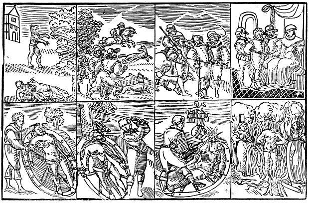 Tak wyobrażał sobie losy Petera Stubbego angielski drzeworytnik, który zilustrował wydaną w Londynie w 1590 r. historię tego niemieckiego wilkołaka. Na rysunkach widać kolejno, jak Stubbe poluje na ofiary (pierwszy od lewej u góry), potem obławę, ujęcie przez sąsiadów, sąd i egzekucję (rwanie ciała rozżarzonymi cęgami, łamanie kołem, obcięcie głowy i spalenie ciała na stosie) połączoną ze straceniem jego córki oraz kochanki.