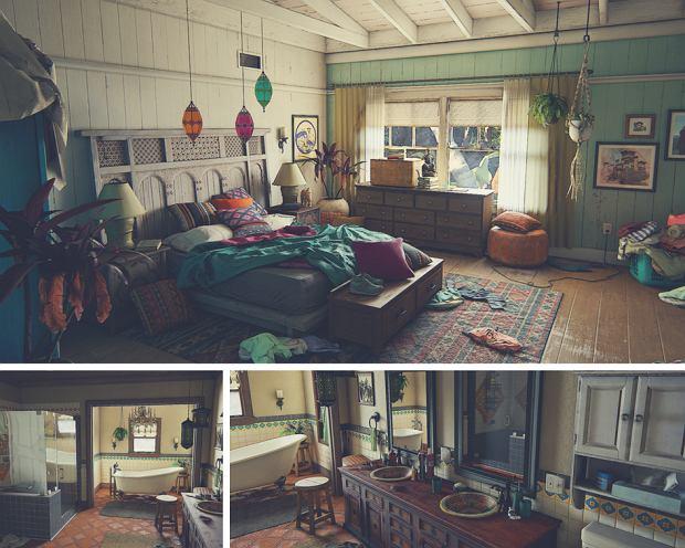 Screen z gry 'Uncharted 4: Kres Złodzieja' - wnętrza domu głównych bohaterów