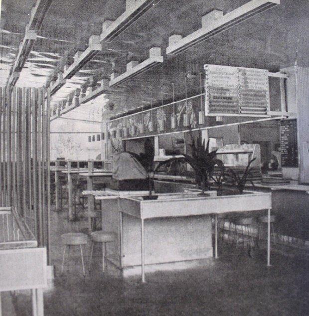 Wnętrze baru Gruba Kaśka w 1968 roku Źródło: Architektura, 1968, nr 2