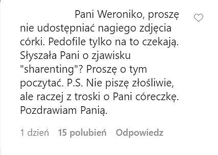 komentarz pod zdjęciem Weroniki Rosati