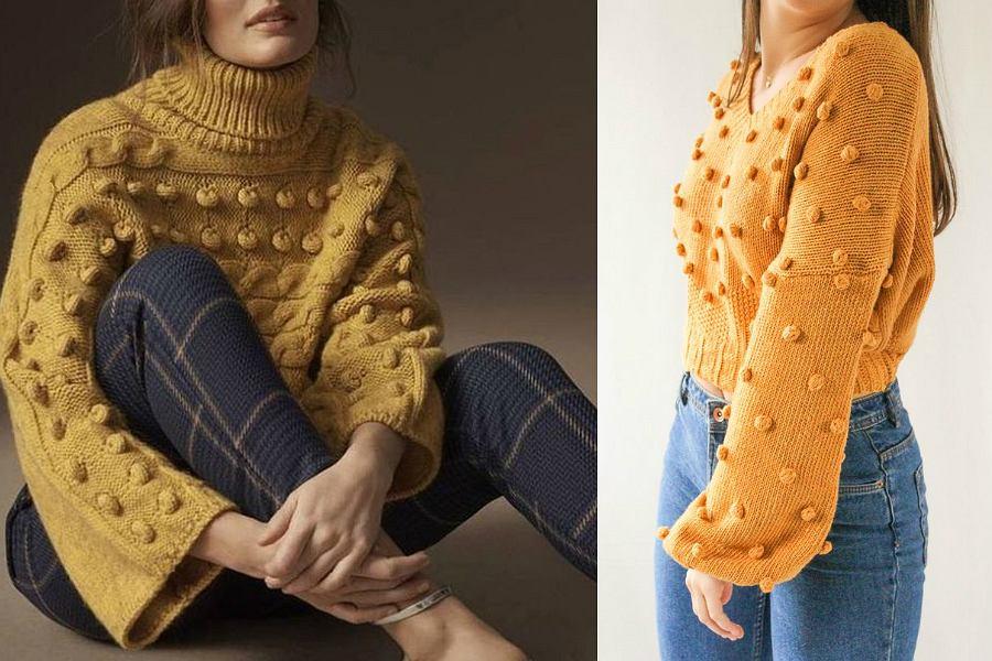Musztardowy sweter z pomponami