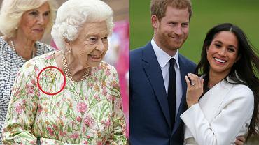 """Królowa Elżbieta przymila się do Harry'ego i Meghan? Wysyła do nich """"sygnał"""". Broszka na jej sukience ma ukryte znaczenie"""