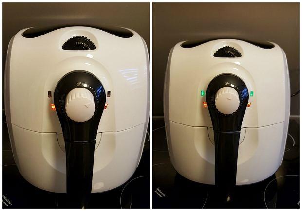 Frytkownica ma dwa pokrętła do regulacji czasu i temperatury i cztery diody, informujące o tym, że urządzenie jest włączone, a także że osiągnęło odpowiednią temperaturę.