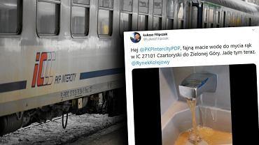 Żółtą wodę w kranie pociągu PKP Intercity nagrał pracownik ZTM z Warszawy