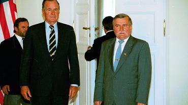 Rok 1995. Lech Wałęsa i prezydent USA George Bush