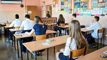 18.04.2018, egzamin gimnazjalny w jednym z łódzkich gimnazjów.