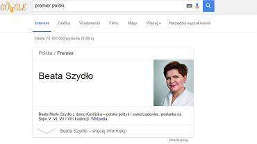 """Rezultat podany przez Google po wpisaniu hasła """"premier Polski"""""""