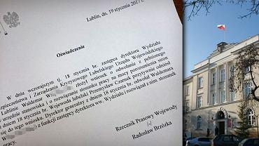 Urzędnik Lubelskiego Urzędu Wojewódzkiego po wpadce z jazdą 'na podwójnym gazie' podał się do dymisji