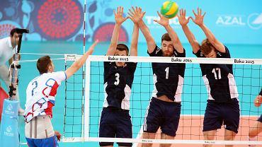 Igrzyska Europejskie w Baku. W bloku od lewej Michał Kędzierski, Dawid Dryja, Artur Szalpuk