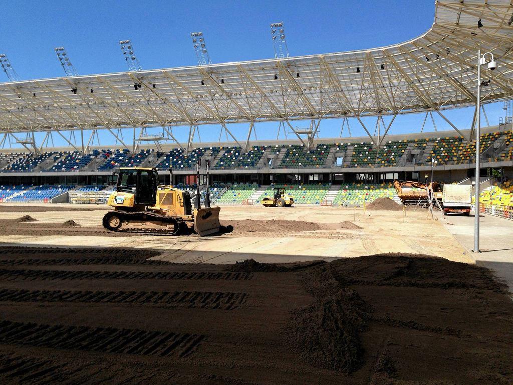Obecny stan murawy na stadionie w Bielsku-Białej