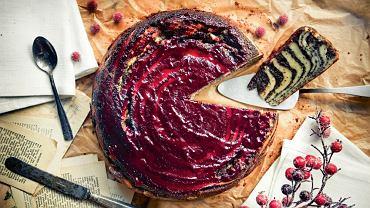 Marmurkowe ciasto serowe z malinową kuwerturą