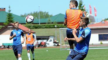 Trening Lecha Poznań na stadionie w Gniewinie. Denis Thomalla i Jan Bednarek