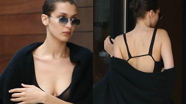 Bella Hadid zainspirowała się niedawnym strojem Kendall Jenner i też nie założyła pod prześwitującą bluzkę biustonosza. Modelka zapomniała chyba jednak, że ma w planach spotkanie z... własną mamą. Nic dziwnego, że 19-latka starała się ukryć swoje wdzięki przed wścibskimi fotografami.