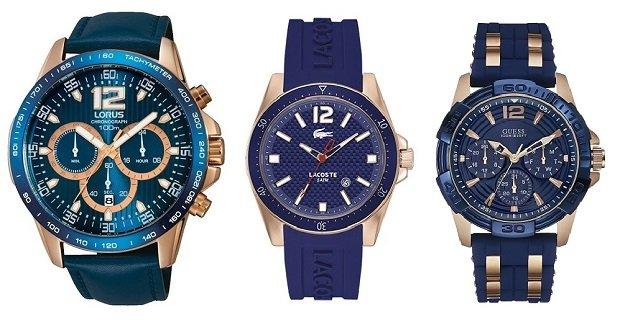 Zegarki męskie z motywami różowego złota i błękitu