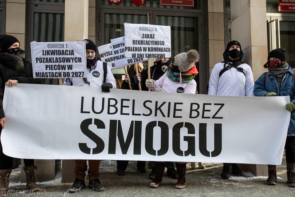 Lublin. Manifestacja aktywistów w sprawie uchwały antysmogowej