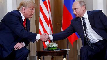 Donald Trump na spotkaniu z Władimirem Putinem w Helsinkach