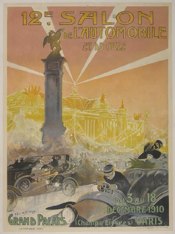Plakat reklamujący 12. salon samochodowy w Paryżu.