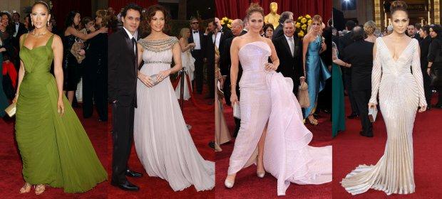 Jennifer Lopez na Oscarach w 2006, 2007, 2010 i 2012 roku