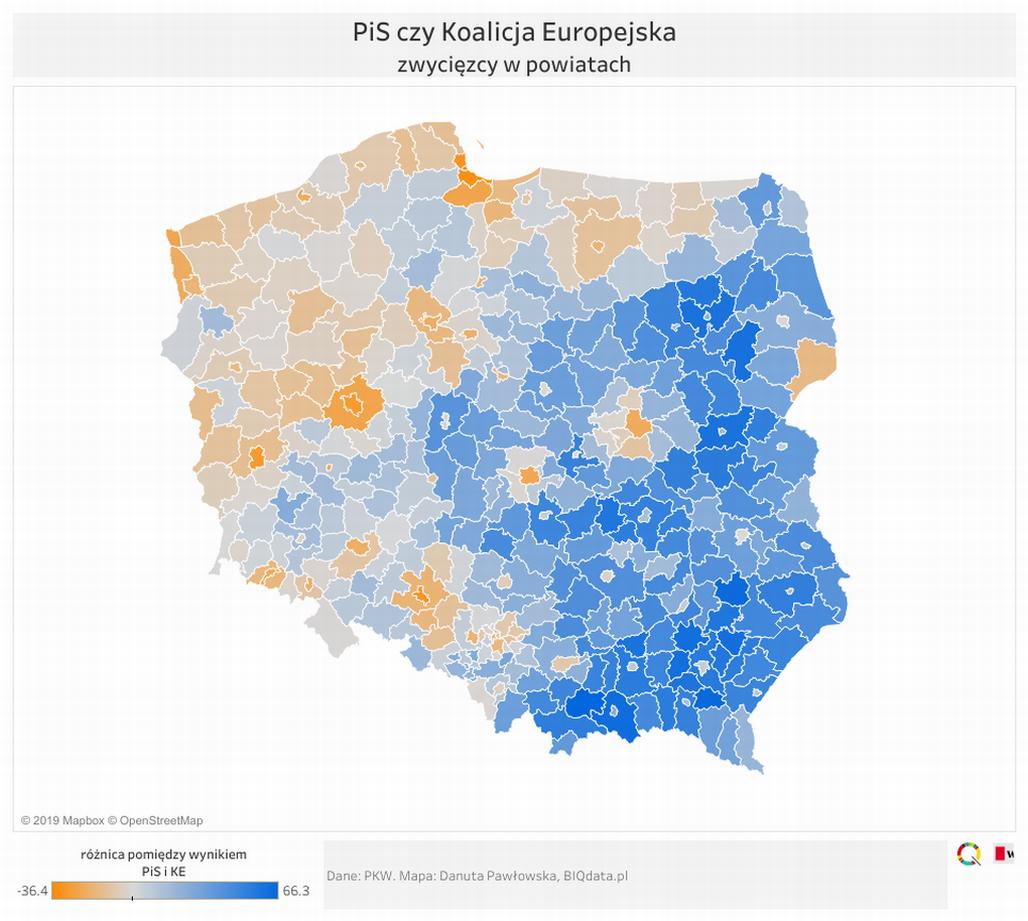 Eurowybory Na Mapach Powiaty W Ktorych Pis Zdobyl Prawie 80 Proc