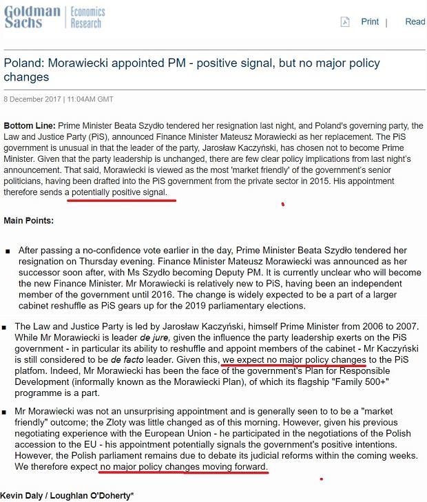 Goldman Sachs o nominacji Mateusza Morawieckiego na premiera