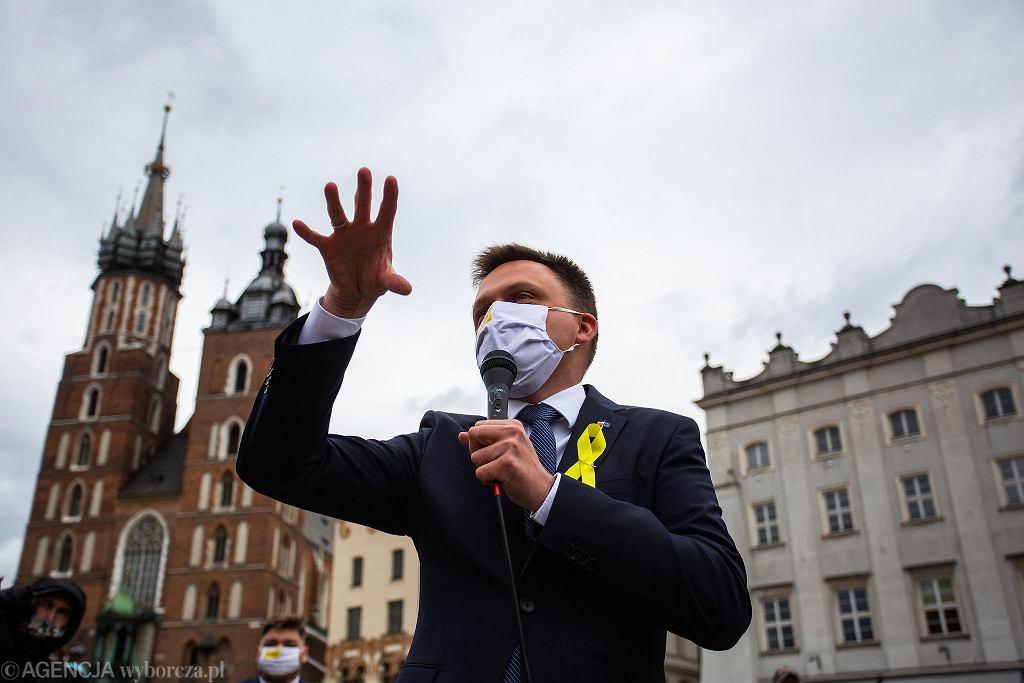 Wybory prezydenckie 2020. Szymon Hołownia w Krakowie przed pierwszą turą