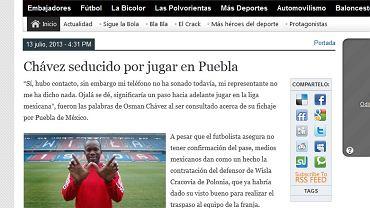Screen artykułu mówiącego o transferze Chaveza