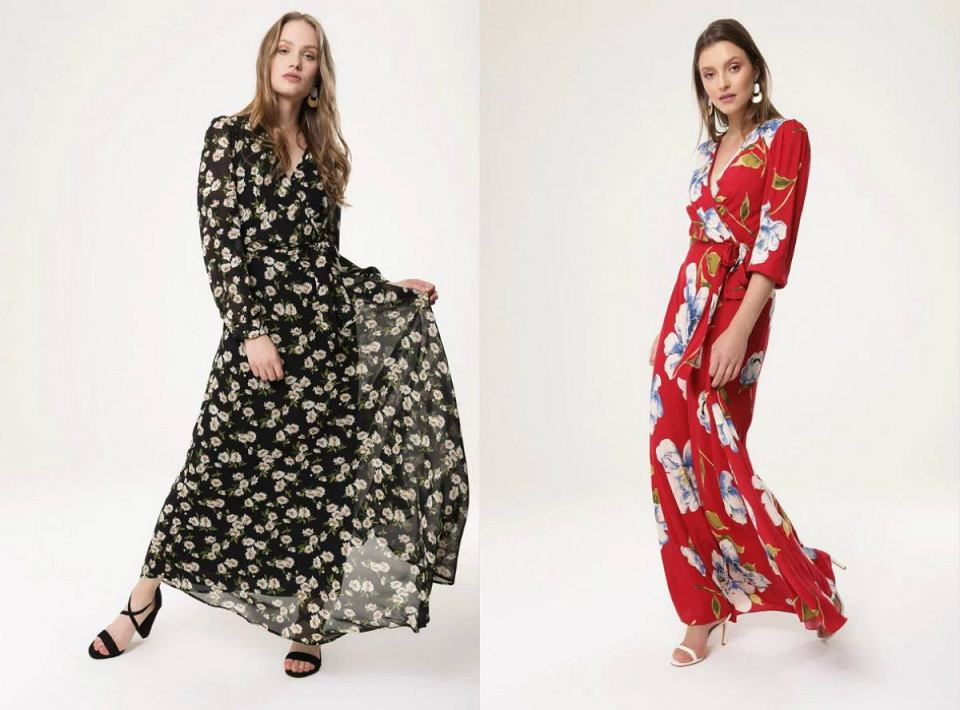 Sukienki maxi z długim rękawem na chłodniejsze, letnie dni