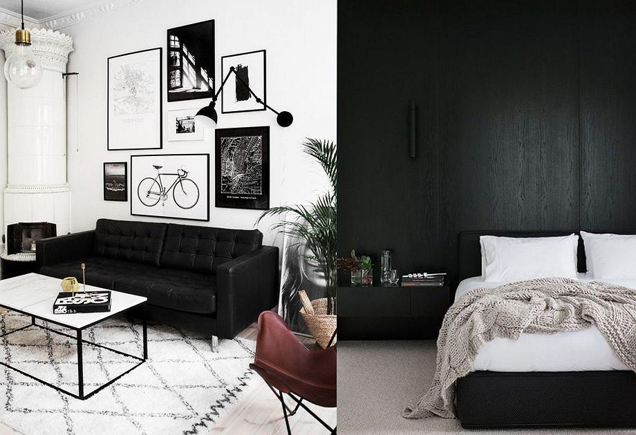 Czarne meble w salonie i sypialni